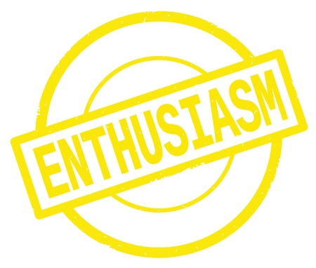 ENTHUSIASM text, written on yellow simple circle rubber vintage stamp. Stock Photo