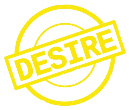 DESIRE text, written on yellow simple circle rubber vintage stamp.