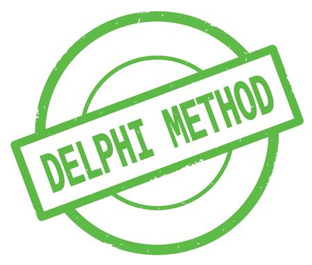 DELPHI METHOD text, written on green simple circle rubber vintage stamp.