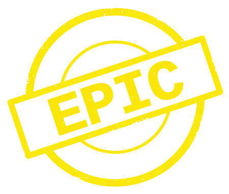 EPIC text, written on yellow simple circle rubber vintage stamp.