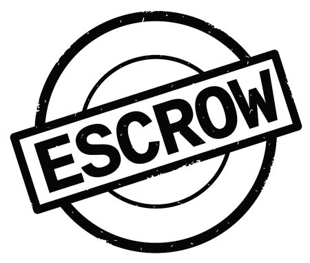 ESCROW text, written on black simple circle rubber vintage stamp.