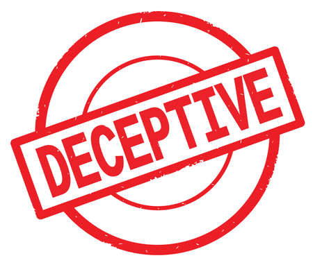 DECEPTIVE text, written on red simple circle rubber vintage stamp.