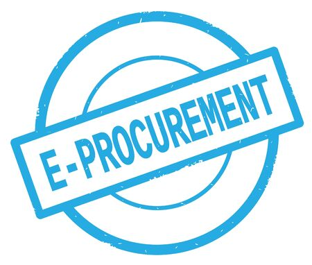 E PROCUREMENT text, written on cyan simple circle rubber vintage stamp.