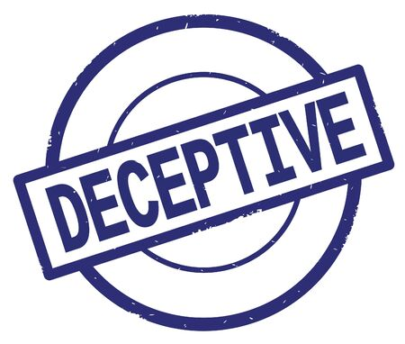 DECEPTIVE text, written on blue simple circle rubber vintage stamp.