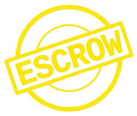 ESCROW text, written on yellow simple circle rubber vintage stamp.