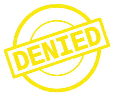 DENIED text, written on yellow simple circle rubber vintage stamp.