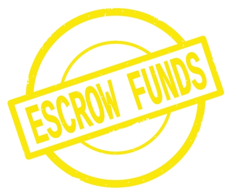 ESCROW FUNDS text, written on yellow simple circle rubber vintage stamp.