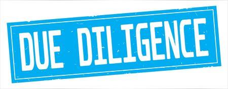完全なシアン長方形ヴィンテージテクスチャスタンプ記号にDUE DILIGENCEテキスト。