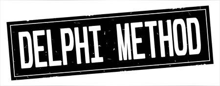 DELPHI METHOD text, on full black rectangle vintage textured stamp sign.