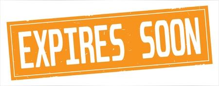 完全なオレンジ色の長方形ヴィンテージテクスチャスタンプ記号に、EXPIRES SOONテキスト。