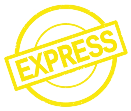 EXPRESS text, written on yellow simple circle rubber vintage stamp.
