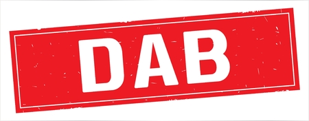 DAB text, on full red rectangle vintage textured stamp sign.