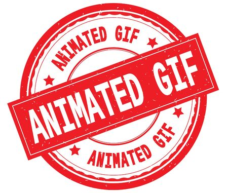 ANIMATED GIF written text on red round rubber vintage textured stamp.