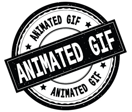 ANIMATED GIF written text on black round rubber vintage textured stamp.