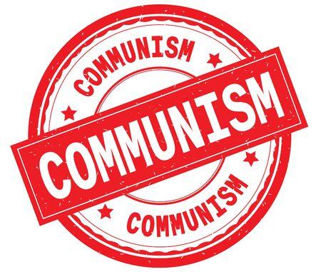 COMMUNISM 빨간색 라운드 고무 빈티지 질감 된 스탬프에 텍스트를 작성.