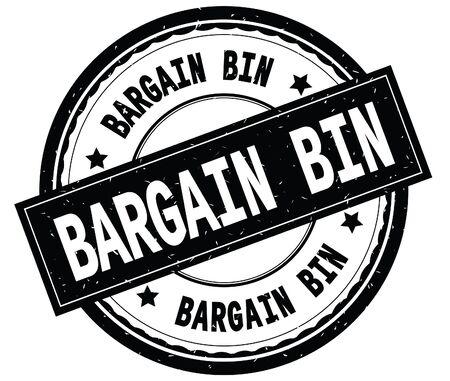 バーゲンビンは、黒丸いゴムヴィンテージテクスチャスタンプに書かれたテキスト。 写真素材