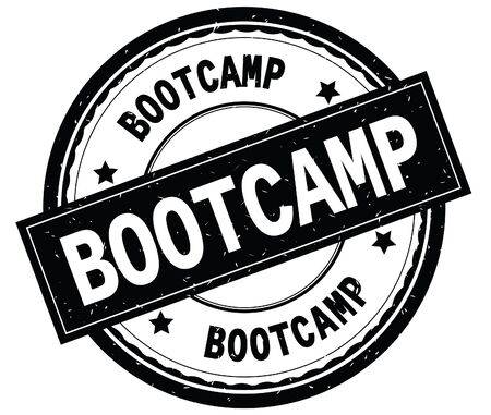 BOOTCAMP written text on black round rubber vintage textured stamp.