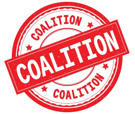 COALITION written text on red round rubber vintage textured stamp. Stock Photo