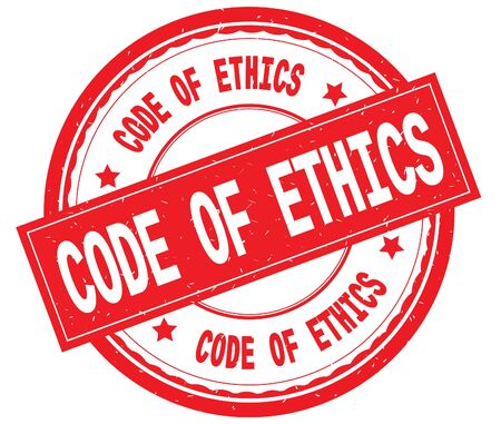 CODE OF ETHICS written text on red round rubber vintage textured stamp.