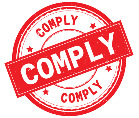 COMPLY written text on red round rubber vintage textured stamp. Stock Photo