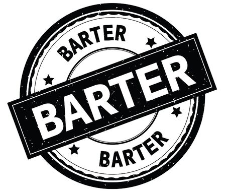 BARTER written text on black round rubber vintage textured stamp. Stock Photo