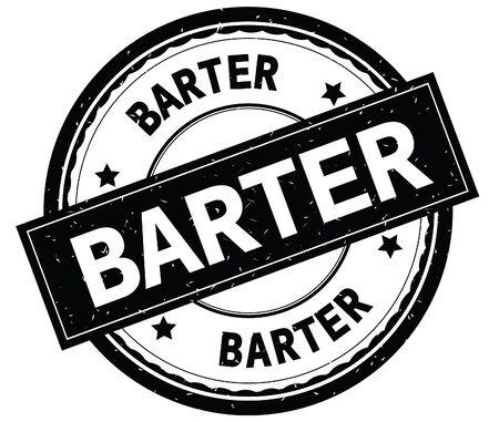 Testo scritto di BARTER sul bollo strutturato dell'annata di gomma rotonda nera. Archivio Fotografico - 92814165