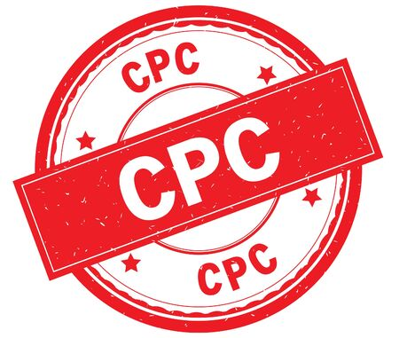 CPC written text on red round rubber vintage textured stamp. Stock Photo