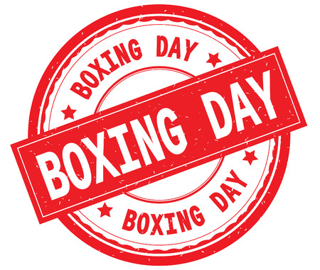 BOXING DAY written text on red round rubber vintage textured stamp.