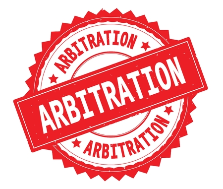 ARBITRATION red text round stamp, with zig zag border and vintage texture.