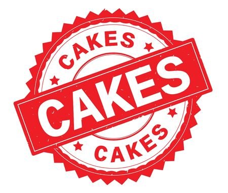 CAKES red text round stamp, with zig zag border and vintage texture. Stock Photo