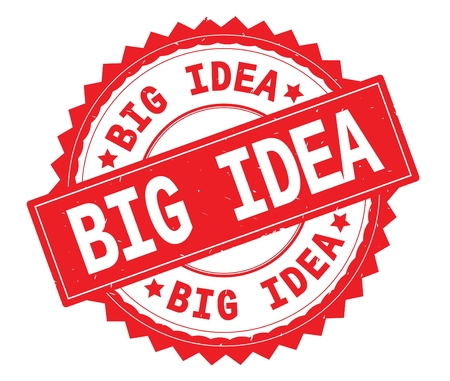 BIG IDEA red text round stamp, with zig zag border and vintage texture. Stock Photo