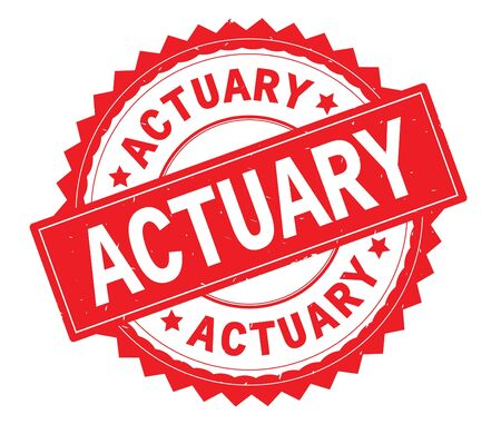 ACTUARY red text round stamp, with zig zag border and vintage texture.