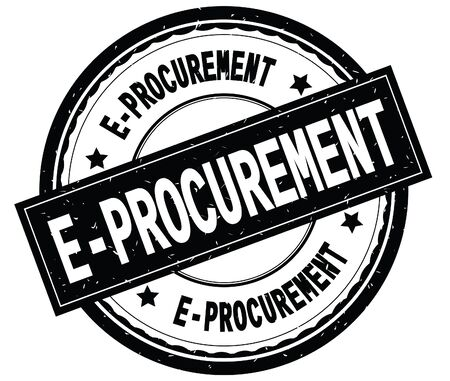 E PROCUREMENT written text on black round rubber vintage textured stamp. Stock Photo