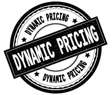 ダイナミックプライシングは、黒丸いゴムヴィンテージテクスチャスタンプに書かれたテキスト。