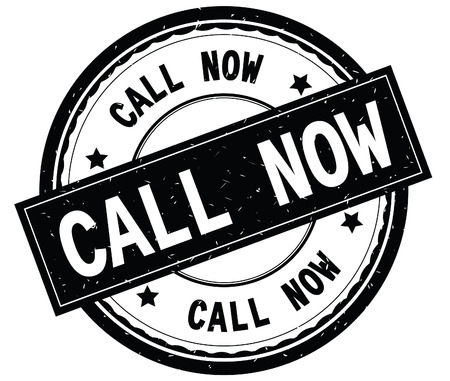 CALL NOW written text on black round rubber vintage textured stamp.