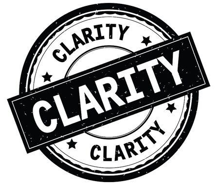 クラリティは黒い丸いゴムヴィンテージテクスチャスタンプに書かれたテキスト。 写真素材