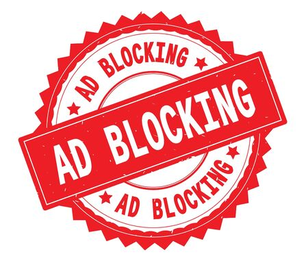 AD BLOCKING red text round stamp, with zig zag border and vintage texture. Stock Photo