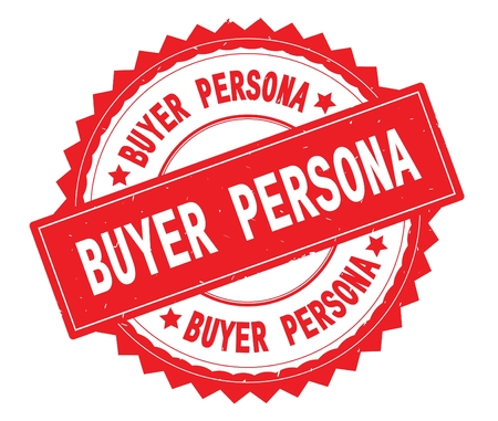 BUYER PERSONA red text round stamp, with zig zag border and vintage texture.