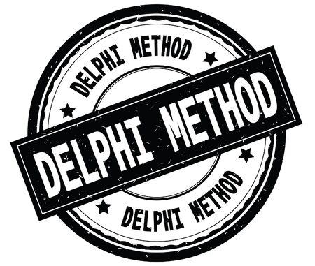 DELPHI METHOD written text on black round rubber vintage textured stamp. Stock Photo