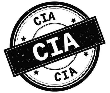 CIA written text on black round rubber vintage textured stamp.