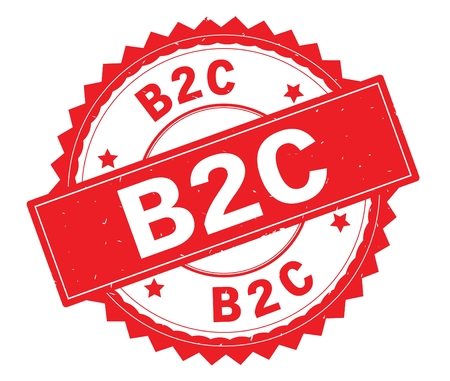 B2C red text round stamp, with zig zag border and vintage texture.