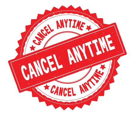 CANCEL ANYTIME red text round stamp, with zig zag border and vintage texture. Imagens