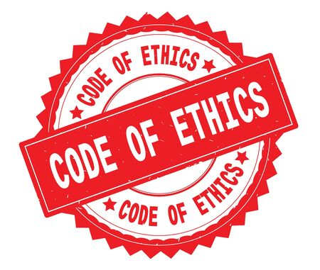 CODE OF ETHICS red text round stamp, with zig zag border and vintage texture.