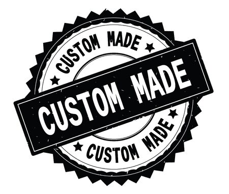 CUSTOM MADE black text round stamp, with zig zag border and vintage texture.