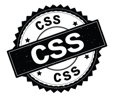 CSS black text round stamp, with zig zag border and vintage texture.