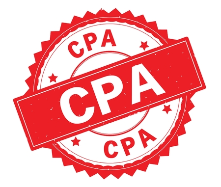 CPA red text round stamp, with zig zag border and vintage texture. Stock Photo