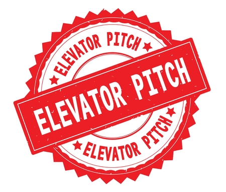 ELEVATOR PITCH red text round stamp, with zig zag border and vintage texture. 스톡 콘텐츠