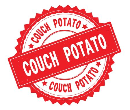 COUCH POTATO red text round stamp, with zig zag border and vintage texture.