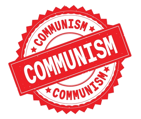 COMMUNISM red text round stamp, with zig zag border and vintage texture.