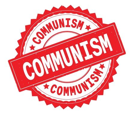 Timbro tondo con testo rosso COMMUNISM, con bordo a zig zag e trama vintage. Archivio Fotografico - 92802980